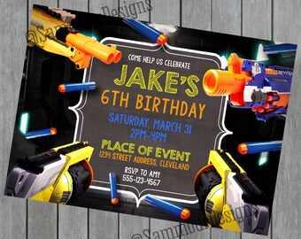 Kids Party Invitation - Custom Birthday - Gun Birthday - Foam Gun Invitation - Boys Birthday Invitation - Printable Birthday Invites