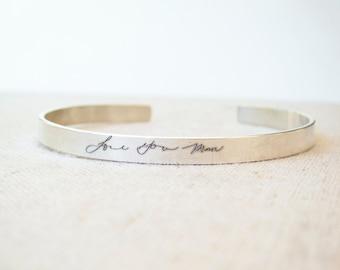 Personalized Cuff - Thin Personalized Silver Cuff Bracelet Handwriting Jewelry - Personalized Jewelry - Black Friday - Handwriting Bracelet