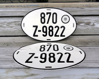Vintage German License Plates - Set of two - Round Plate 1950s-70s