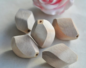 5pcs Large Wood Bead Unfinished Twisted Oval Natural Wood Bead 39x24mm MT736