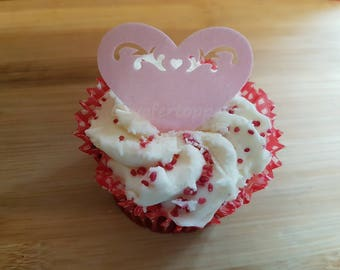 12 Edible Hearts Cupcake Cake Topper Decorations Flavoured Wafer Paper Flavoured Filigree Heart