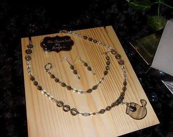Beauty In Music Jewelry Gift Set, Beaded Necklace, Bracelet and Earrings, Czech Glass, Lampworked beads