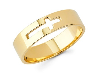 Cross Ring, Religious, Religious Jewelry, Cross Jewelry, Gold Cross, Gold band, Band