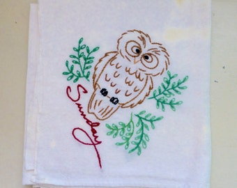 Embroidered tea towel, vintage tea towel, owl tea towel, stained tea towel, day of the week towel, Sunday, tea stains, vintage linens