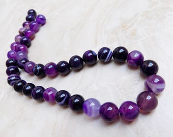 Purple Stripe Agate beads