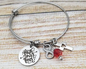 Faith over Fear Customizable Expandable Bangle Charm Bracelet, strength, courage, inspire, rooted, god, church, baptism, biblical