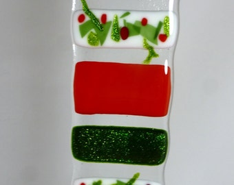 Christmas Fused Glass Light Catcher Suncatcher - Holly, Shimmering Green and Red