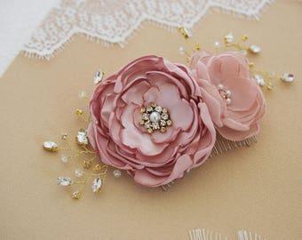Wedding Headpiece, Bridal hair Flower, Flower Hair Clip, Bridesmaid Flower, Wedding Corsage, Flower Corsage, Champagne Bridal Fascinator