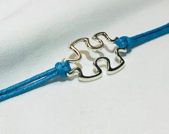 Autism Awarness blue rope puzzle piece bracelet
