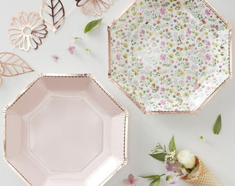 Rose Gold Floral Ditsy plates 8 pack 4 pink and 4 floral with rose gold  sc 1 st  Etsy & Floral paper plates   Etsy