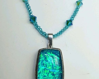 Dichroic Swarovski Elements  Crystals Necklace and Earring Set Sterling 18-20""