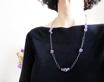 Amethyst Necklace, Long Necklace, Bead Necklace, Oxidized Silver Necklace, Gemstone Necklace, Unusual Necklace, Statement Necklace, Jewelr