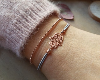 Bracelet Fatima's hand with ball chain Rose gold