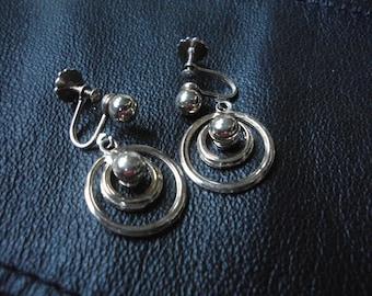 Gold Screw Back Earrings Dangle Screw Back Earrings  Double Rings Gold Screw Back Vintage Earrings