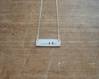 landscape view, two birds on a wire necklace, sterling silver