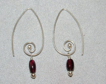 Elegant Spiraled Earrings of Garnet Beads and Sterling Silver, Handmade