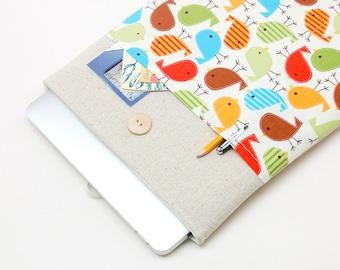 30% OFF SALE White Linen MacBook Case. Case for MacBook 13 Pro (non retina). Sleeve for MacBook 13 Pro with birds pocket. MacBook Cover