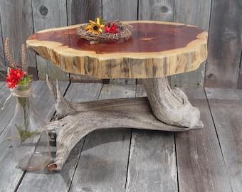 "Rustic Cake Stand, Large, tree stump root base + wood slice top, appox 20""x15""x2"" top, 12.5"" tall, Texas Cedar, reclaimed wood stump"