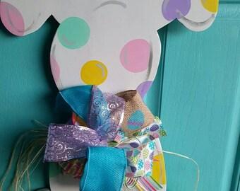 Polka Dot Bunny Door Hanger - door hanger Easter bunny door hanger wreath spring wreath rabbit painted door hanger decor spring