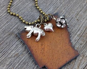 ARKANSAS Necklace LARGE, Metal Arkansas State Necklace, Arkansas Jewelry, Razorback, Pickup Truck, Pig, Gift for Her, Mom, Girlfriend, Women