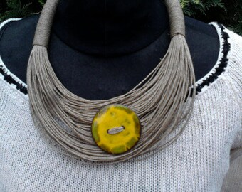 Necklace and ceramic jewelry, organic jewelry, linen, flax eco friendly, organic jewelry