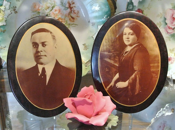 Celluloid Tin Easel Buttons / Large Antique Victorian 1900s Photos