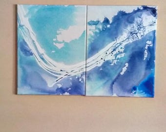 SERENE  : Unique, one of a kind, acrylic flow painting