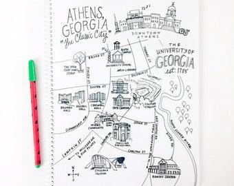 Large Athens, Georgia Campus UGA Map Spiral Bound Journal Notebook