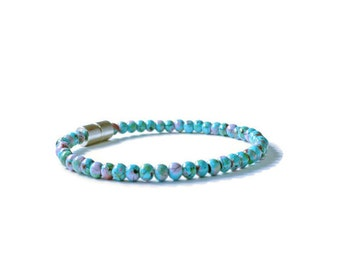 Turquoise Picasso Magnetic Bracelet for Arthritis, Hematite Therapy Jewelry