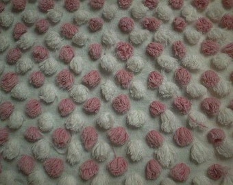 """Vintage Handmade PINK and WHITE Chenille POPS Vintage Chenille Bedspread Fabric - 18"""" X 27"""" - #1"""