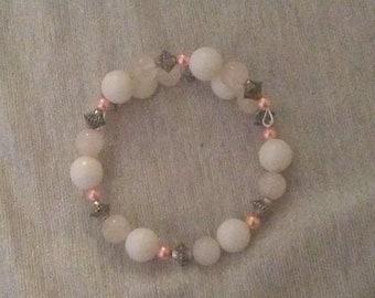 White, Silver, and Pink beaded wraparound bracelet
