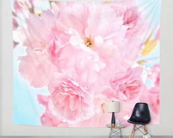 Soft Blue Sky with Pink Peonies -Wall Tapestry Photography Backdrop modern home nature fine art flower dreamy nursery wedding outdoor garden