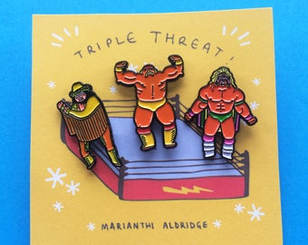 Triple Threat! Pack of 3 x Wrestling Pins