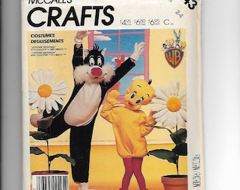 Vinage UNCUT Sewing Pattern McCalls P943 for Sylvester and Tweety Bird Costumes, Sz Child 2--4