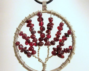 Garnet Pendant, Tree of Life Pendant,  Birthstone Gems, Pendant Necklace, January Birthstone, Wrapped Wire Tree, Gift for Her, Birthday Gift