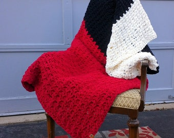 "chunky blanket, large throw, red striped sofa blanket 57""x 57"""
