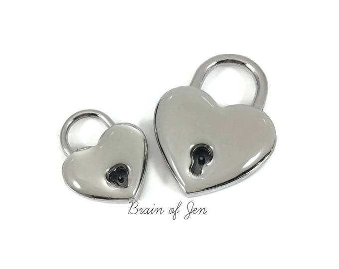 Heart Lock with Clear Resin Coating Protect from Nickel Allergies