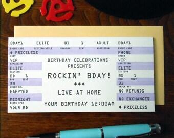 letterpress happy birthday rock concert ticket greeting rockin bday purple black white