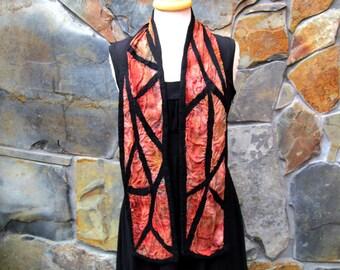 Black lines on brown/rusty red hand dyed silk, short nuno felt scarf