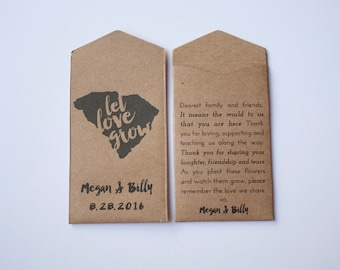 South Carolina Custom Seed Packet Wedding Favors - State Flower Wedding Favor Seed Envelopes - Custom Seed Packets - Many Colors Available
