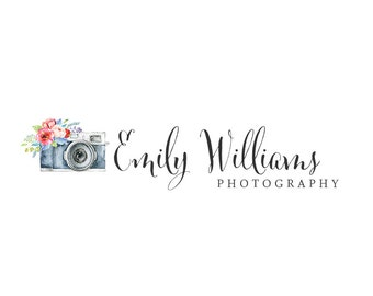 Photography Logo and watermark, Premade Logo Design, Watercolor floral camera Logo  227