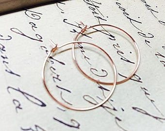 Tiny Rose Gold Hoop Earrings, Small 3/4 Inch Hoops, Simple and Modern Minimalist Jewelry