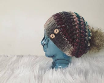 Tealberry slouchy  hat, slouchy beanie, womens slouchy hat, colorful slouchy  beanie, rustic slouchy hat, wine colored slouchy hat