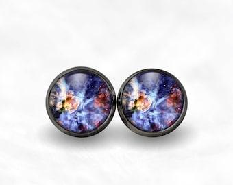 Blue Nebula Stud Earrings | Galaxy Earrings Galaxy Studs Galaxy Jewelry Boho Jewelry Stars Earrings Space Earrings Bohemian Earrings