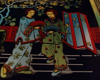 Vintage Asian/Oriental Tin with Cranes