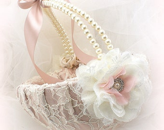 Flower Girl Basket Ivory Rose Blush Vintage Style with Lace and Pearl Handle