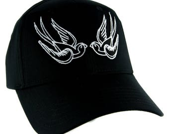 White Swallow Sparrow Birds Hat Baseball Cap Alternative Clothing Rockabilly Tattoo Symbol - YDS-EMPA-052-WHITE-Cap