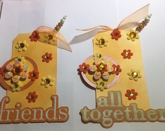 Friend Yellow Tags Set Big Sized 3x6 inches Scrapbook Gifts