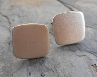 Mid Century Brushed Sterling Silver Square Cuff Links Japan