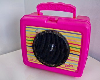 Old school Barbie lunch box speaker - pink plastic upcycled lunchbox